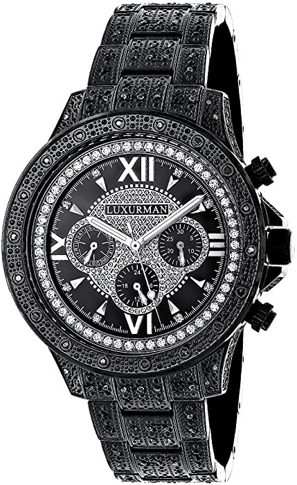 b1a5b304af0e Amazon.com  Mens Black Diamond Watch 1.25ctw of diamonds by Luxurman Iced  Out  Watches