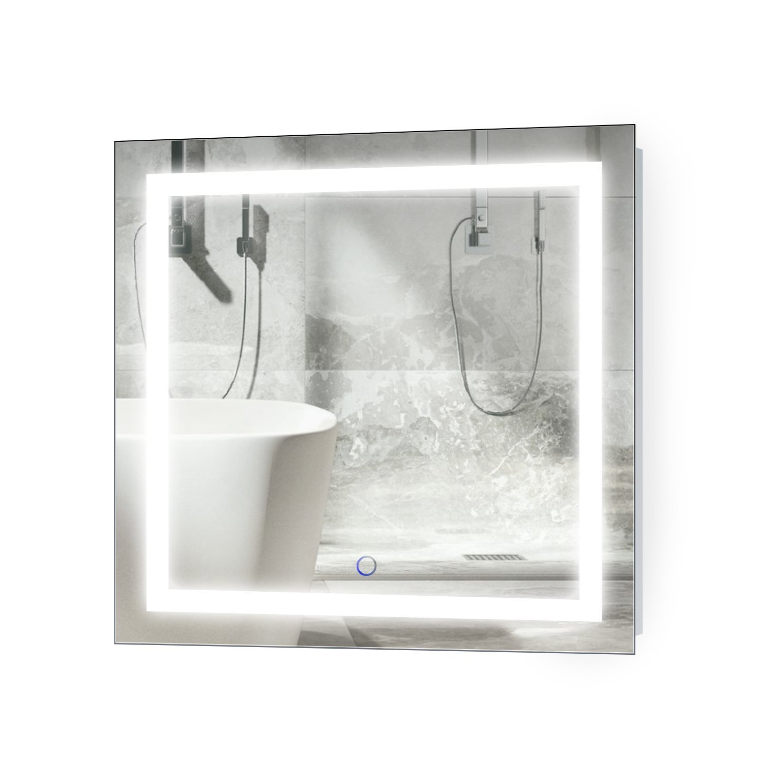Krugg LED Bathroom Mirror 24 Inch X 24 Inch Square Lighted Vanity Mirror Includes Defogger Dimmer