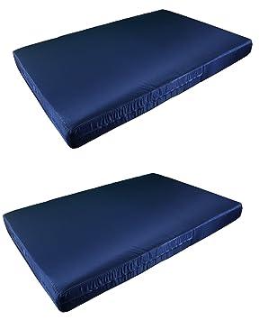 2 X Colchón Europalet para palet 120x80 cm en tela de diferentes colores. Fabricado en España. (Azul marino): Amazon.es: Jardín