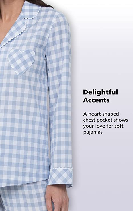 cea0b4bd81 PajamaGram Plaid Pajamas for Women - Boyfriend Style PJs ...