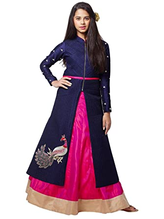 3056c016ad Cartyshop Girl's Neavy Blue Foam Work Embrodiery Banglori Silk N Rani Silk  Lehenga Indo Western Style