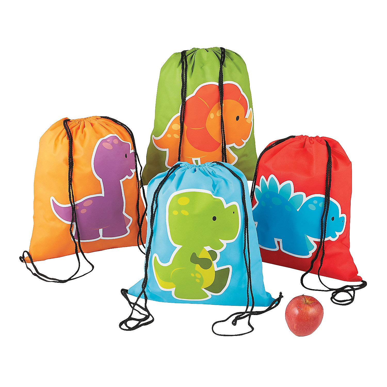 Fun Express Little Dinosaur Drawstring Backpacks 24 Count