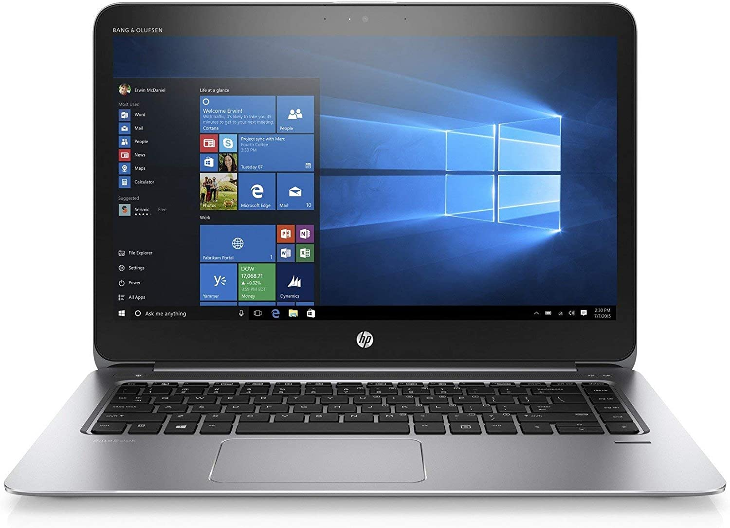"HP EliteBook Folio 1040 G2 14"" Laptop Intel Core i5 5300U 2.30 GHz 8Gb Ram 128G SSD Windows 10 Pro (Renewed)"