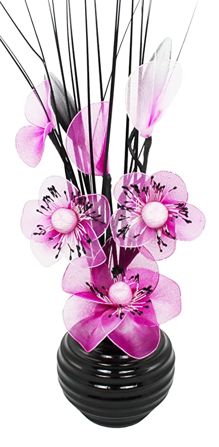 Black vase with pink and white artificial flowers ornaments for black vase with pink and white artificial flowers ornaments for living room window sill mightylinksfo