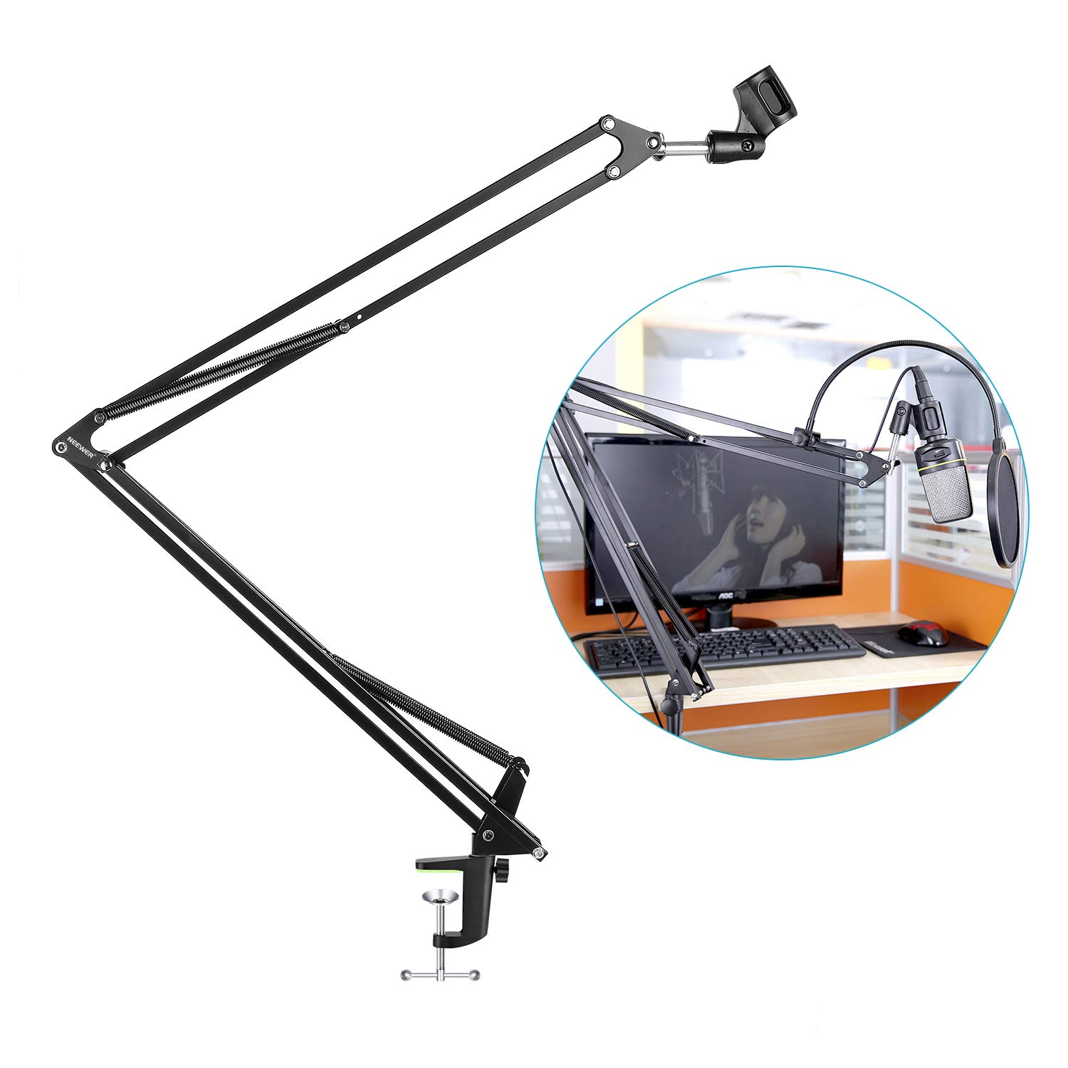 Neewer NB-39 Adjustable 43.3''/110cm Studio Recording Microphone Suspension Boom Scissor Arm Stand with Microphone Clip & Table Mounting Clamp by Neewer