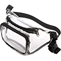 Clear Fanny Pack, BuyAgain 0.6mm Transparent Heavy Duty Sturdy PVC Cute Clear Adjustable Waist Fanny Pack Bag Approved for NFL Games, Concert, Travel, Fit for Women, Men, Black