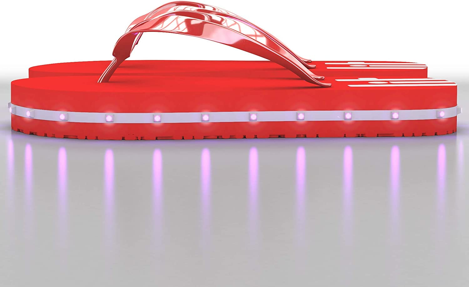 LitFlip Womens LED Lighted Flip-Flop Sandals with Double USB Recharging Cable