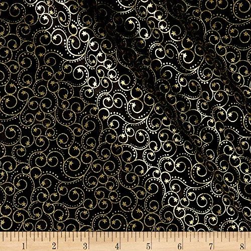Blank Quilting Elegant Christmas Scroll Metallic Black Fabric by The Yard ()