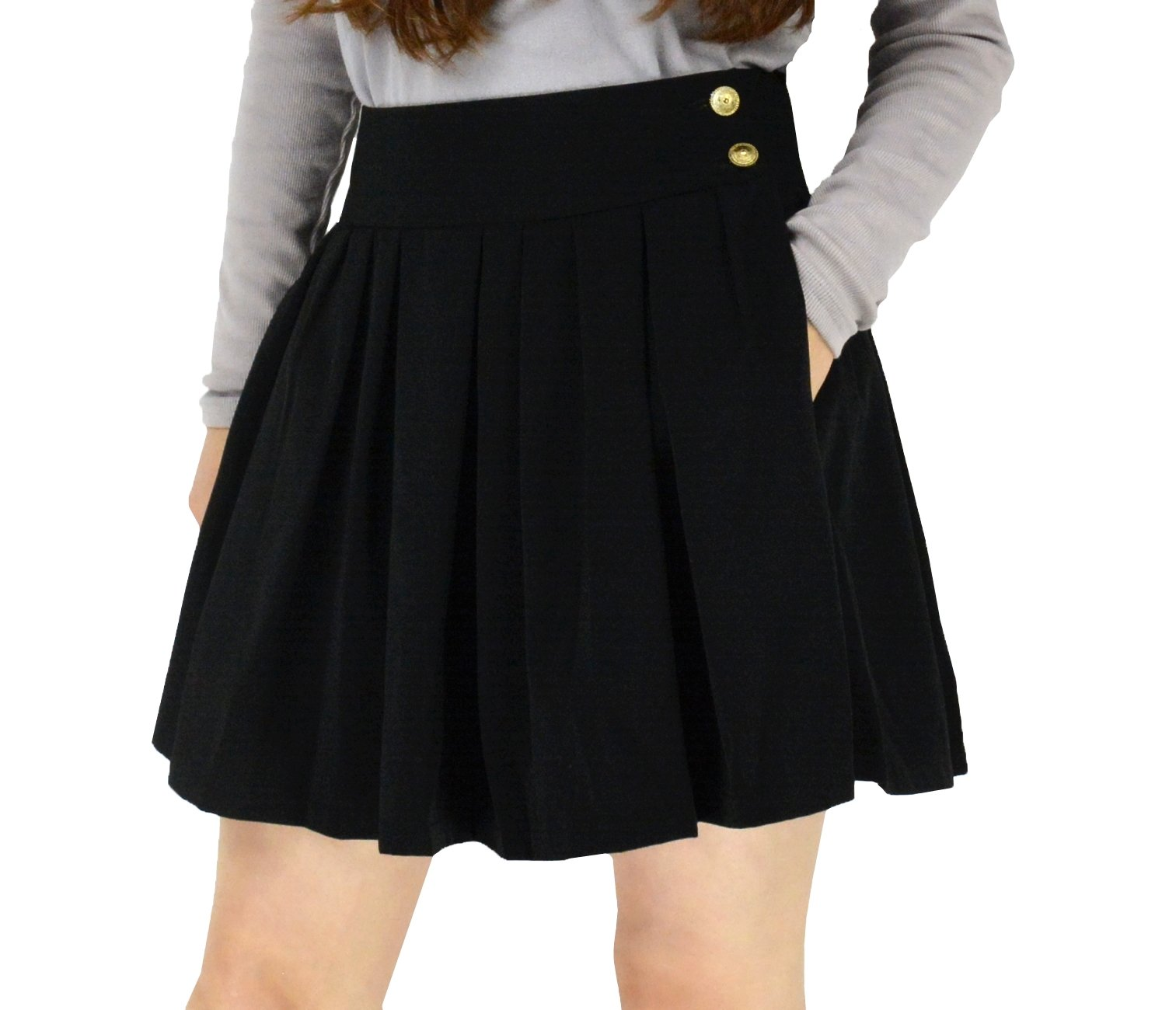 YSJ Women's High Waisted Pleated Mini A Line Skater Skirts with Pockets (L, Black)