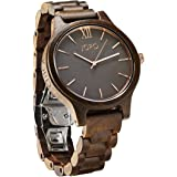 JORD Wooden Wrist Watches for Men or Women - Frankie Minimalist Series / Wood Watch Band / Wood Bezel / Analog Quartz Movement - Includes Wood Watch Box (Dark Sandalwood & Smoke)