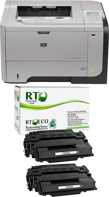 Renewable Toner Remanufactured Laserjet Enterprise P3015 Laser Printer Bundle with 2 HP CE255A Compatible Toner Cartridge (3 Items)