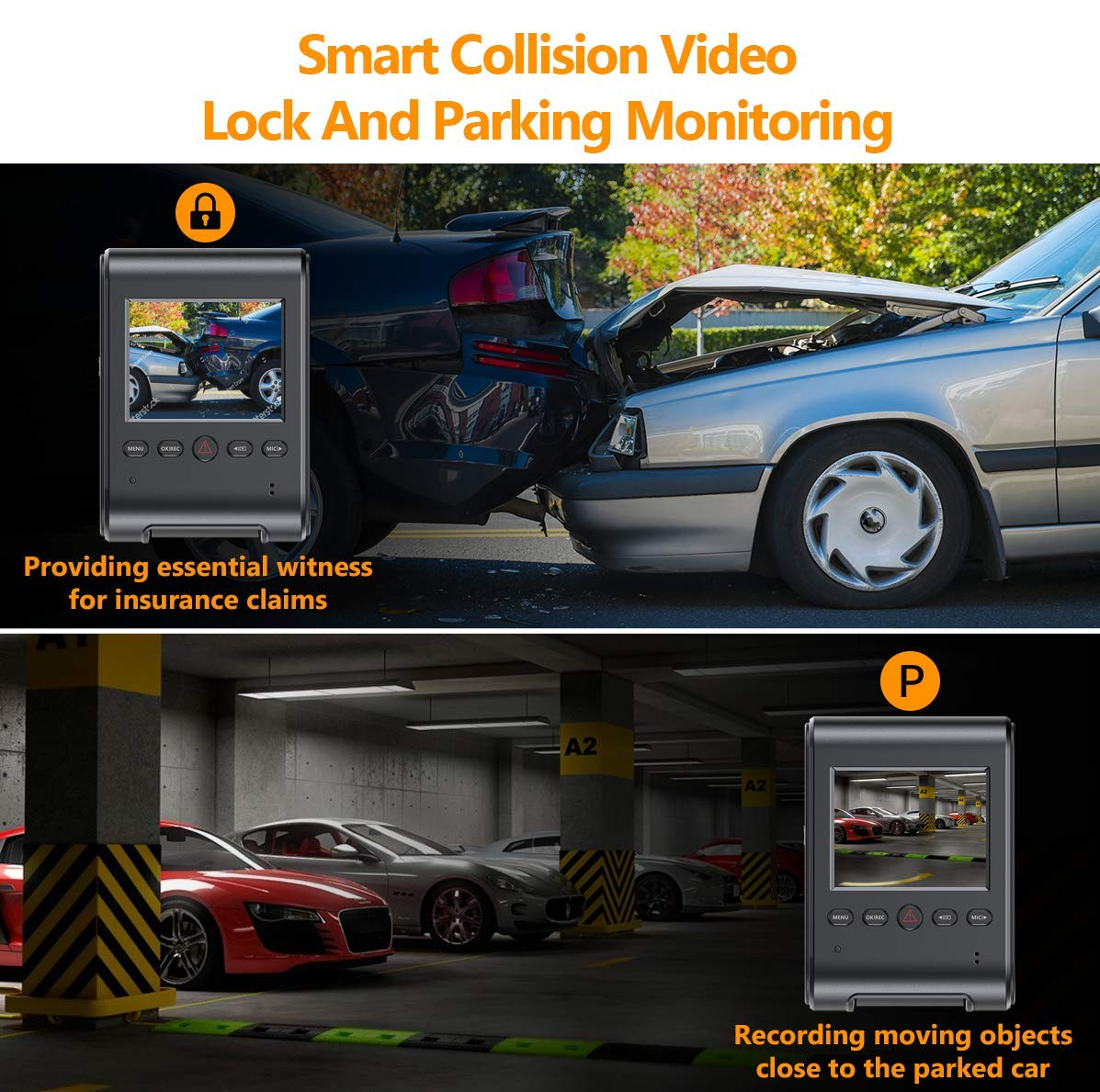 Loop Recording WELCAM Car Dash Cam 2.4 LCD FHD 1080p 170/° Wide Angle Dashboard Camera Recorder with G-Sensor WDR