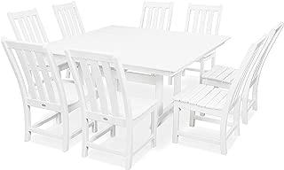 product image for POLYWOOD Vineyard 9-Piece Farmhouse Dining Set (White)
