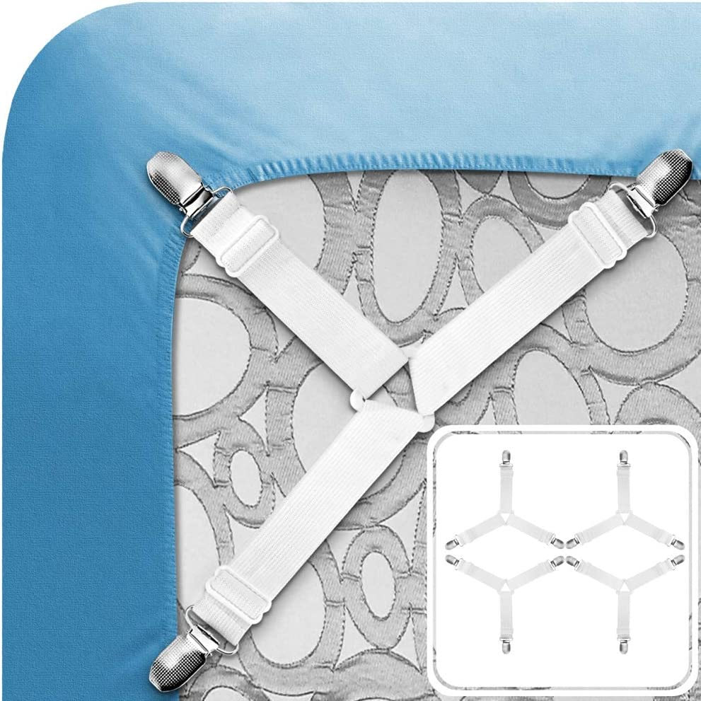 Tomata Adjustable Bed Sheet Fasteners, Triangle Non-Slip Elastic Holder Straps Corner Clips with Heavy Duty Grippers Clips (Set of 4 - White)