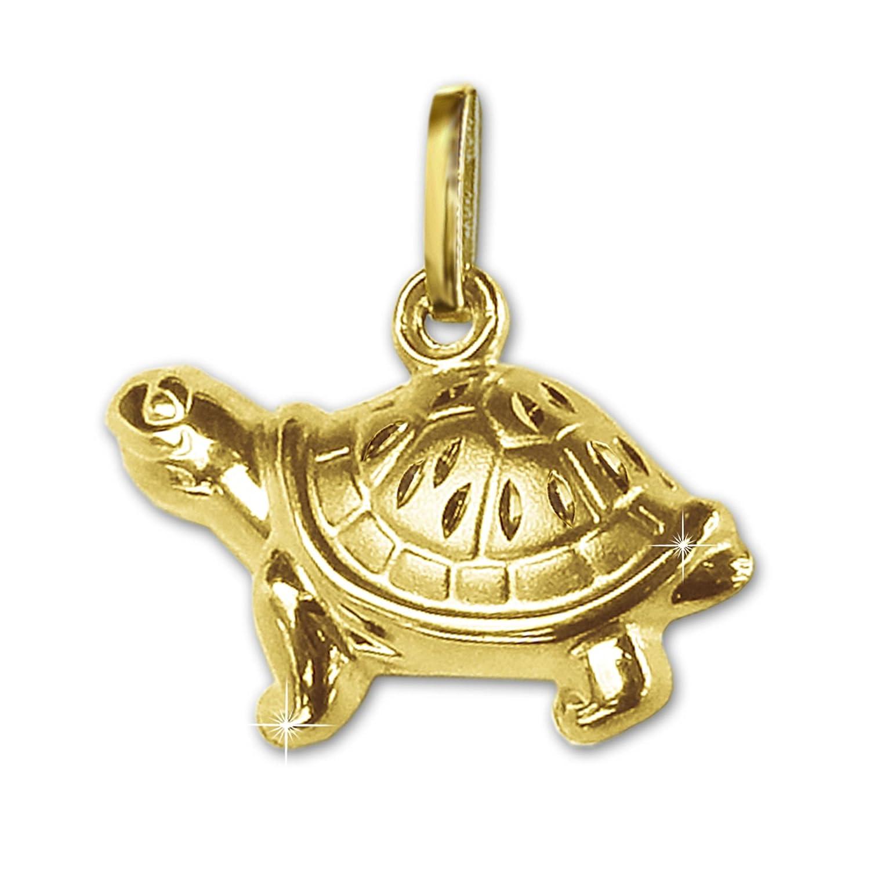 CLEVER SCHMUCK Goldener Anhänger Schildkröte 15 x 7 mm beidseitig plastisch firgürliche Form, eine Seite glänzend, die andere matt diamantiert 333 GOLD 8 KARAT eine Seite glänzend ahg667