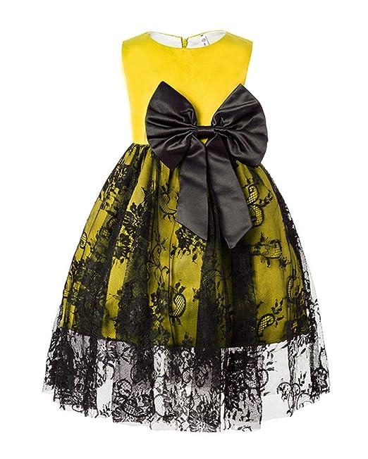 GladiolusA Vestido De Princesa Fiestas Boda Niñas Vestidos Noche Encaje Flores Elegantes Amarillo
