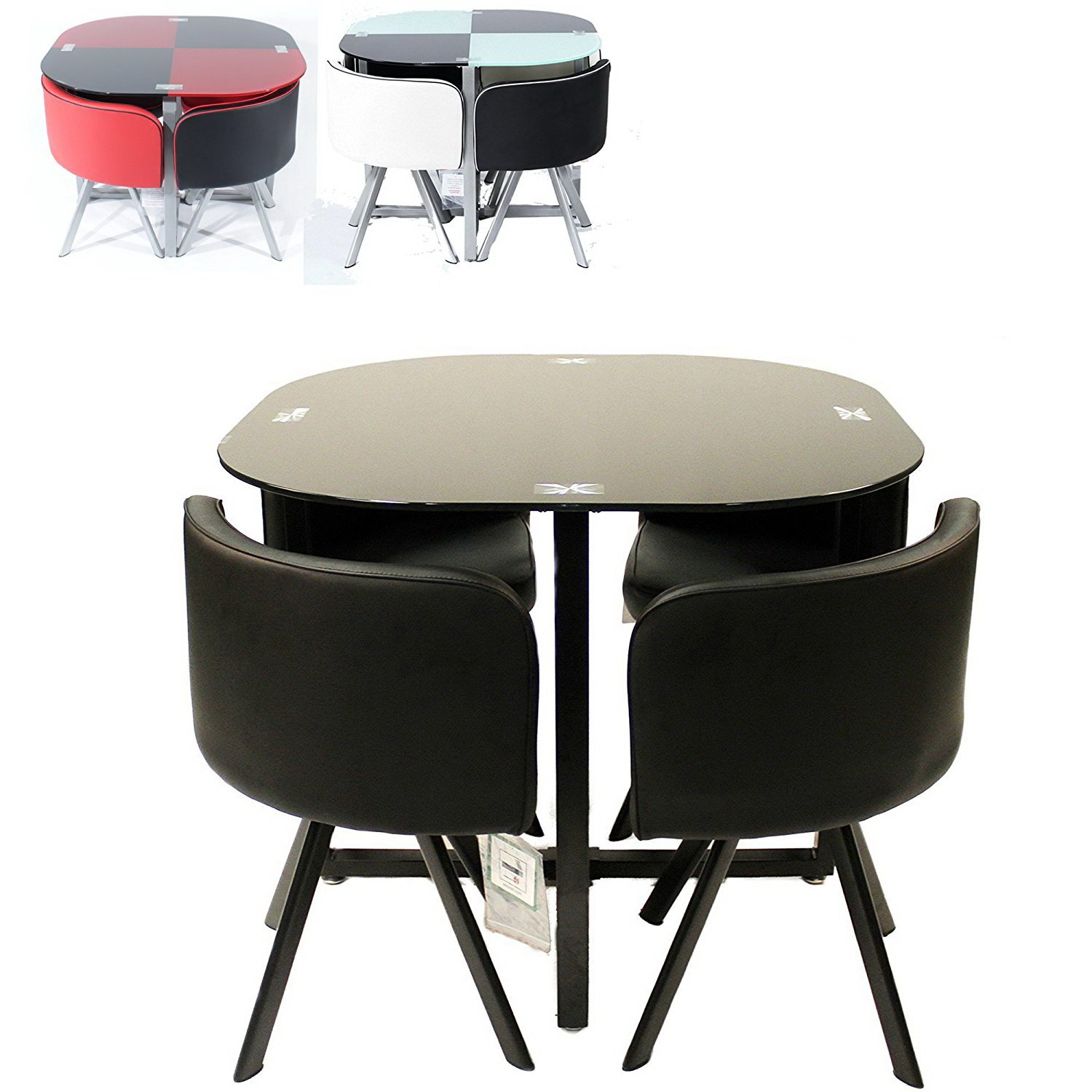 Stowaway kitchen table and stools set wow blog for Round space saving dining table and chairs