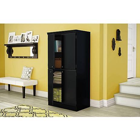 Amazon.com: 4 Shelf Wood Storage Cabinet, 2 Adjustable Shelves ...