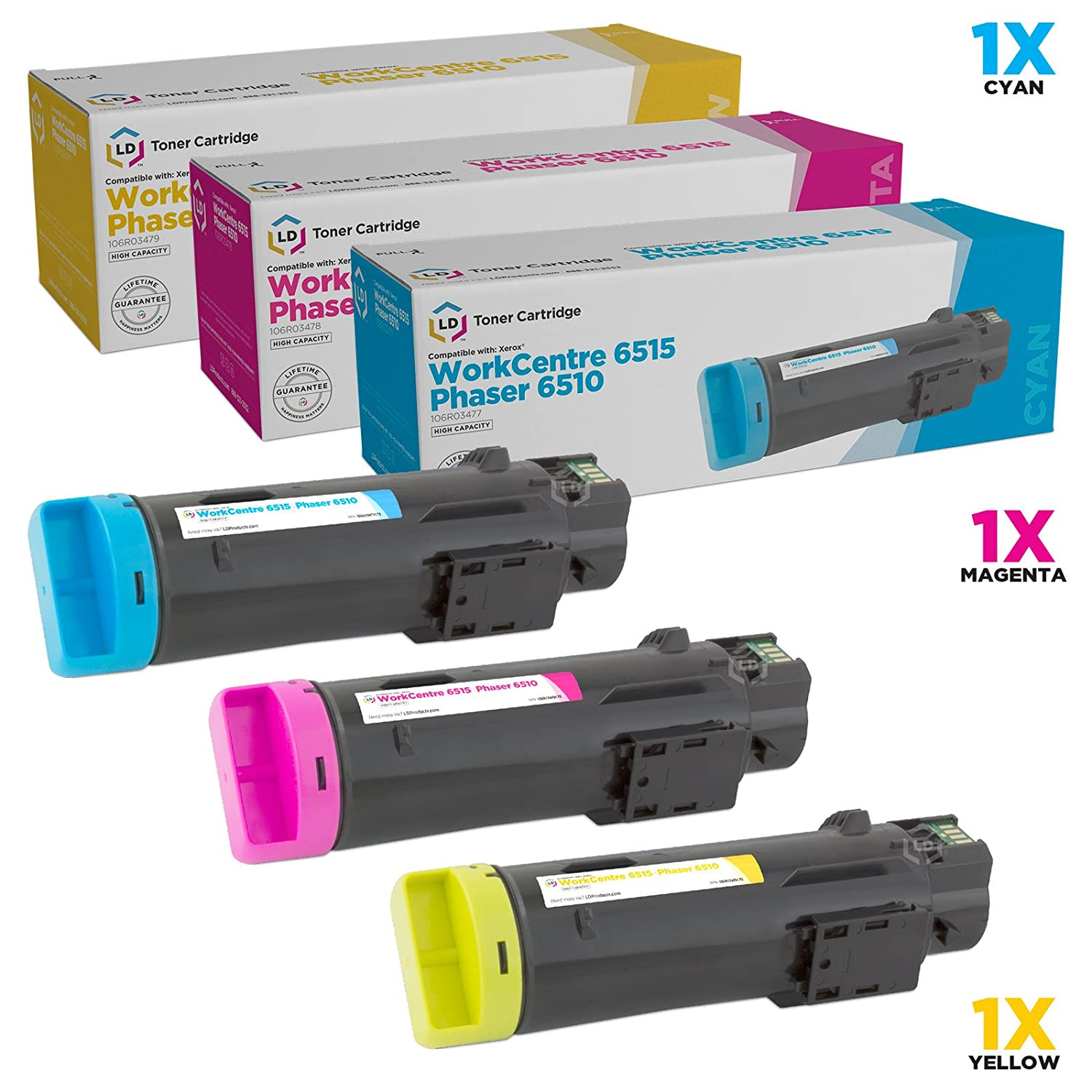 LD Compatible Xerox Phaser 6510/WorkCentre 6515 Set of 3 High-Yield Toner Cartridges: 106R03477 Cyan, 106R03478 Magenta & 106R03479 Yellow