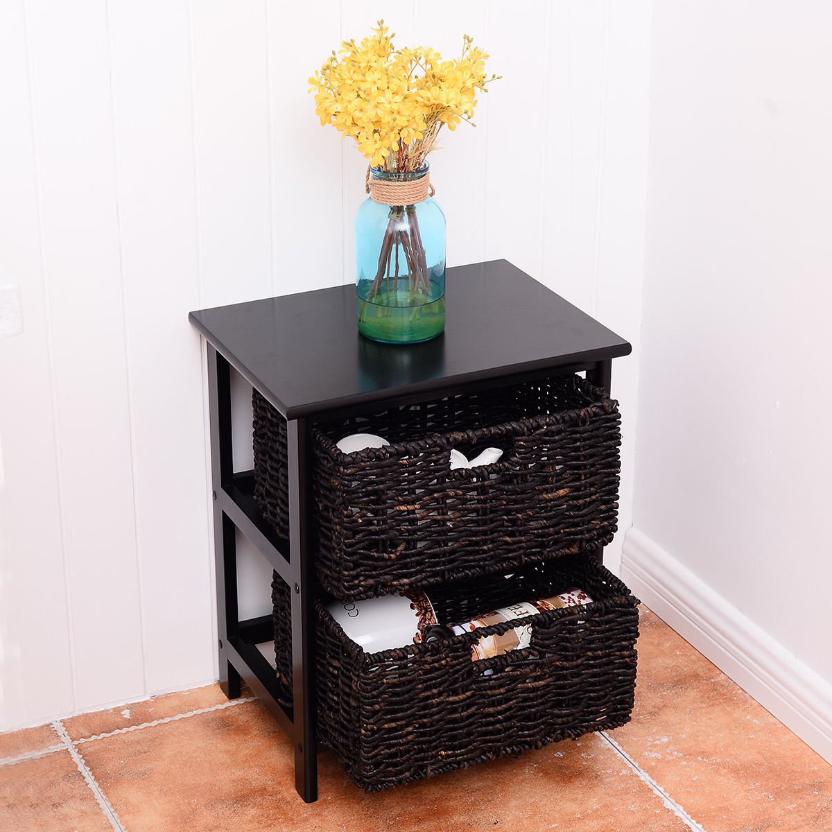 New Wood End Accent Table Home Furniture Living Room Night Stand W/2 Storage Baskets