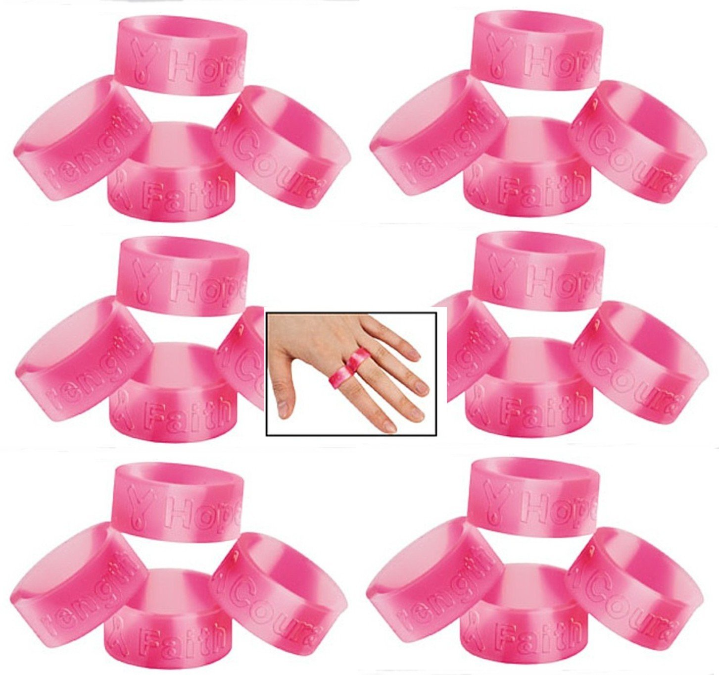 Lot Of 96 Pink Ribbon Camo Rings - Stretch Silicone - Breast Cancer Awareness