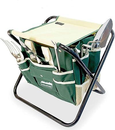 7 PCS Garden Tool Bag Set Folding Stool Tools Gardening Stainless Steel Gift New