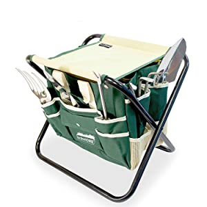 GardenHOME Garden Tools Set 7 Piece Stainless Steel Heavy Duty kit with Folding Stool and Bag, Green