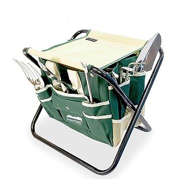 GardenHOME 5 set de jardineria Silla plegable para jardineria con bolsa  porta herramientas a928d94cf28c