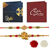 YouBella 2 Rakhi and 2 Greeting Card Combo for Brother (Multi-Colour) (YBRK_91)