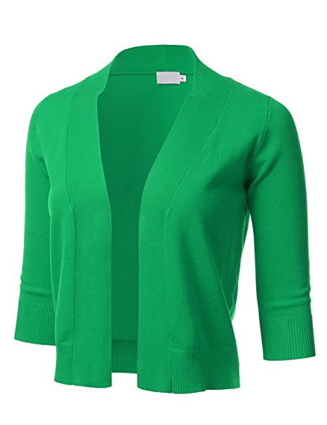 e854a8260431 FLORIA Womens Classic 3 4 Sleeve Open Front Cropped Cardigan (S-XL ...