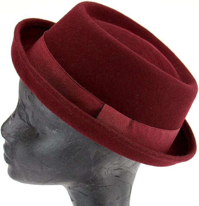 Hawkins sombrero de pastel de cerdo de fieltro de lana con banda de grogr/én azul gris o granate