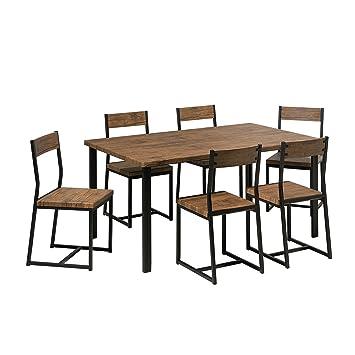 Beliani Ensemble Table De Salle A Manger Et 6 Chaises Laredo