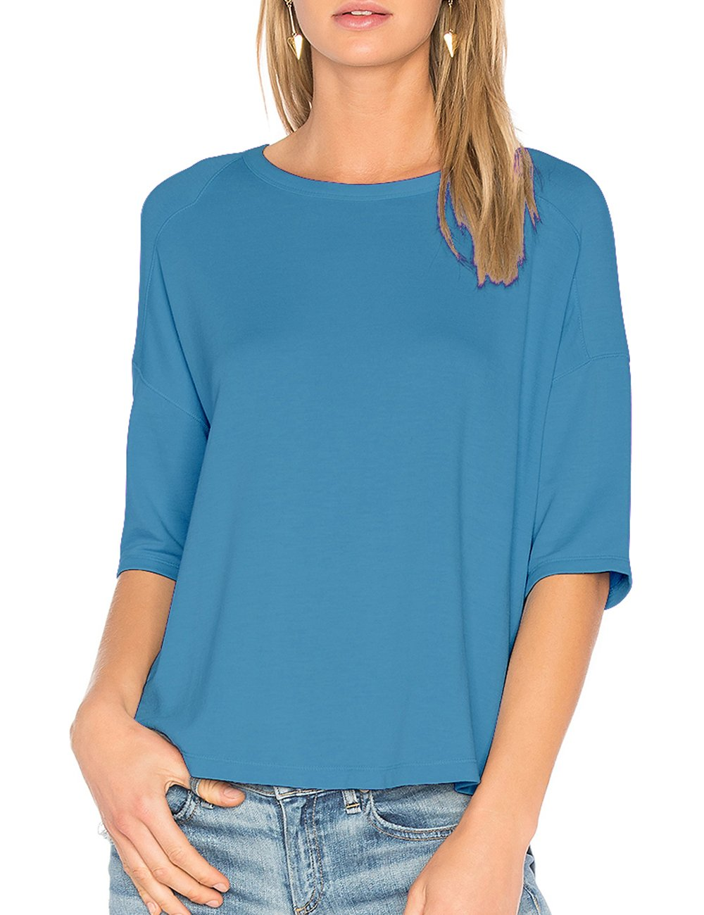 ALLY-MAGIC Womens Cotton T-Shirt 3/4 Sleeves Casual Loose Top Blouse C4722 (XXL, Blue)