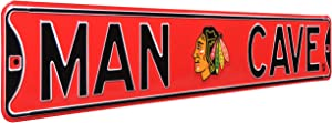 NHL Chicago Blackhawks Man Cave Sign, Metal Wall Decor- Large, Heavy Duty Steel Road Sign – Hockey Home Decor for Garage, Office, and Gifts for Men