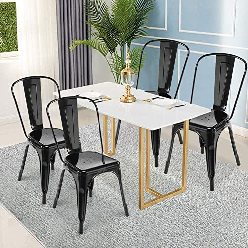 Barstools, GentleShower Metal Dining Side Chair, Set of 4 Stackable Tolix Style Indoor-Outdoor Use Stackable Dining Chairs Kitchen Modern Style Chairs Black