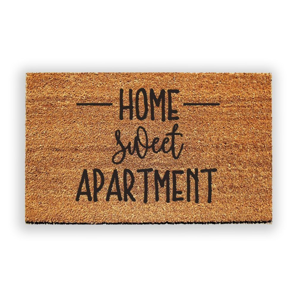 Urban Owl Home Sweet Apartment Doormat - Durable and Mold Resistant Coir Outdoor Welcome Mat with Heavy Duty PVC Backing, 18 inch x 30 inch, Natural Tan and Black