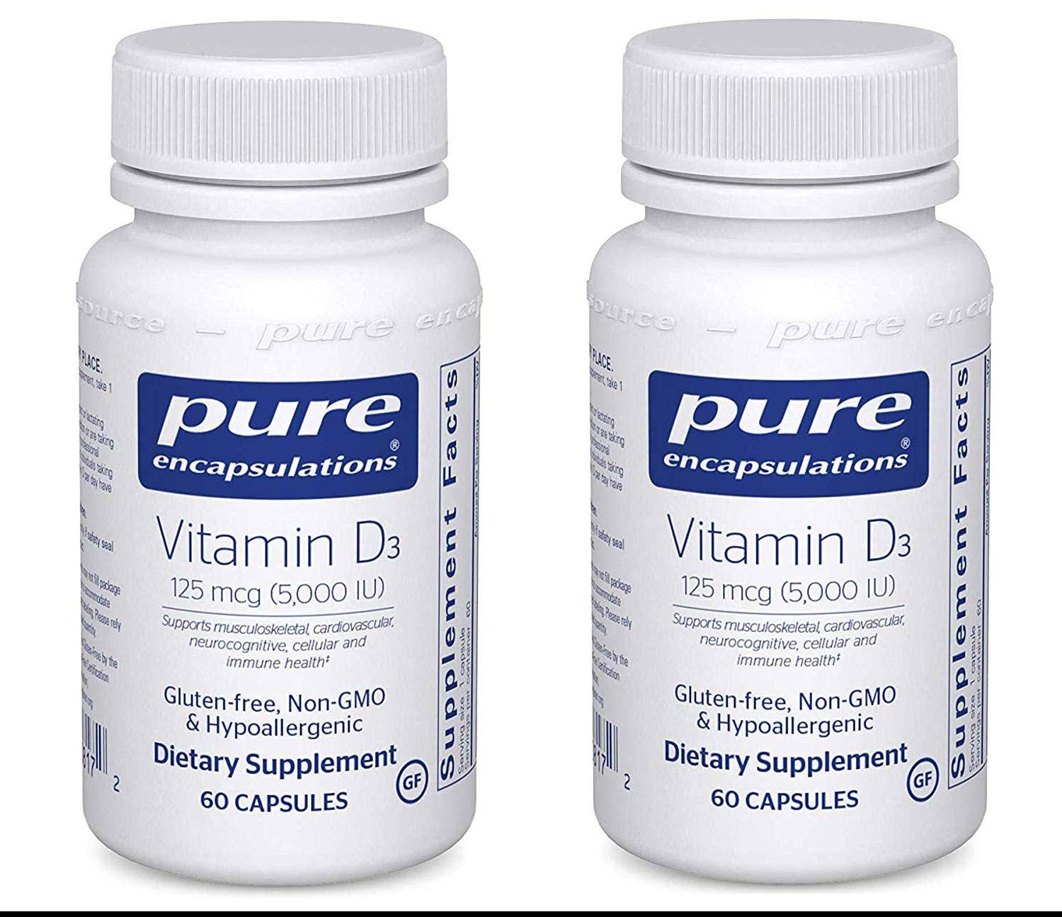 Pure Encapsulations Vitamin D3 5,000 IU Supports Musculoskeletal, Cardiovascular, Neurocognitive, Cellular and Immune Health (60 Capsules) Pack of 2