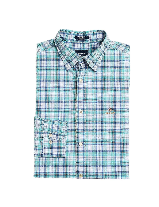 355 Celadon vert M Gant Hommes's Checked Regular Fit Shirt