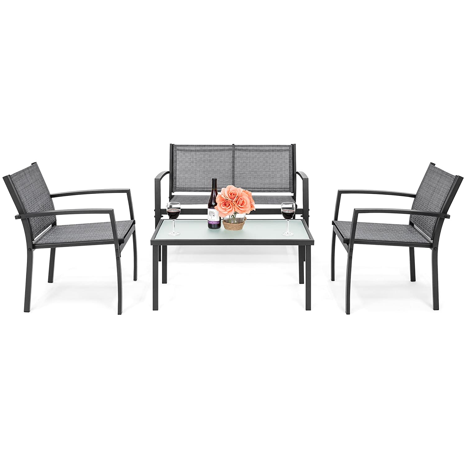 Best Choice Products 4-Piece Patio Metal Conversation Furniture Set w/Loveseat, 2 Chairs, and Glass Coffee Table- Gray SKY4712