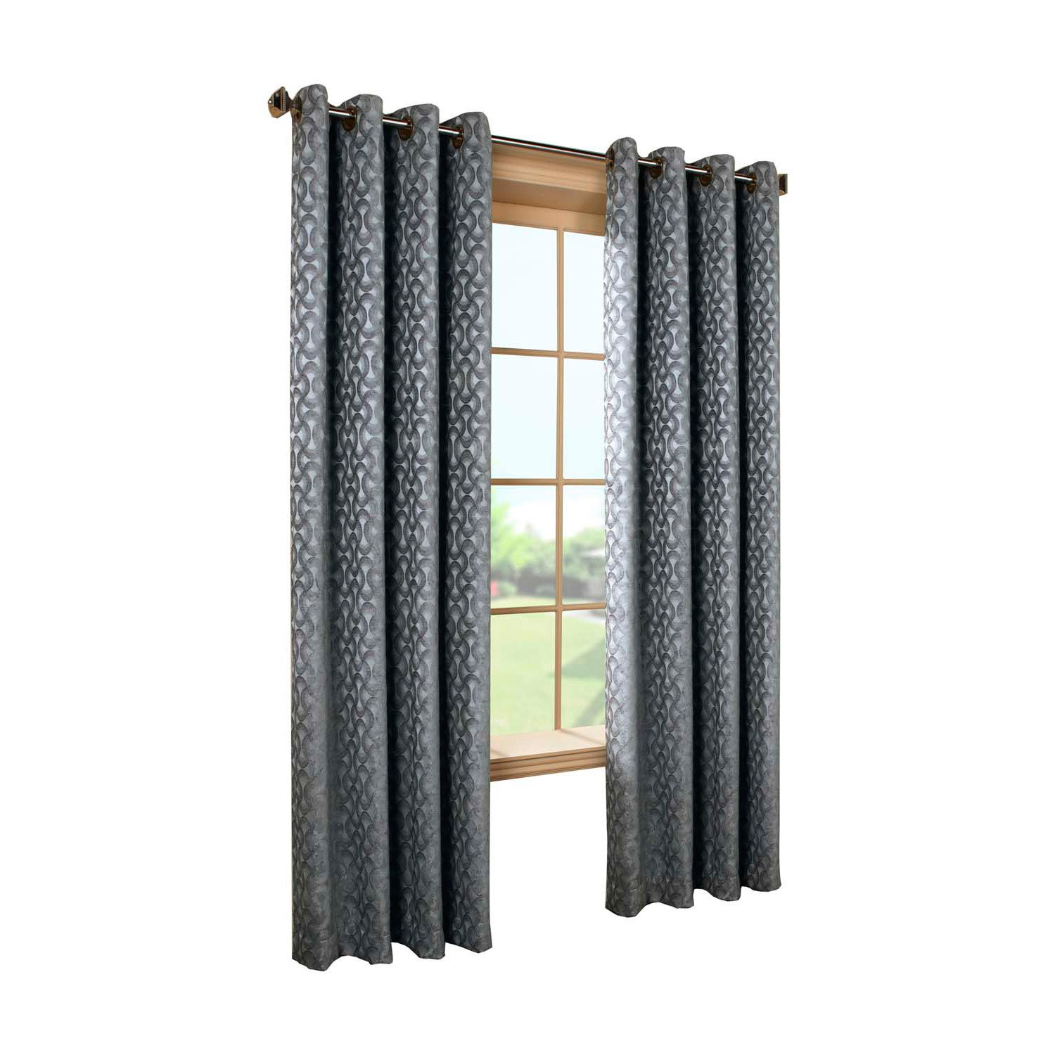 Common Wealth Home Fashions Rope Chenille Couture Patterned Curtain, 52 x 84