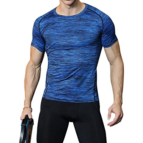 wenyujh T-Shirt Sports Homme Elastique Slim Collant Séchage Rapide  Respirant Gym Musculation Jogging Fitness 59bac9cc5458