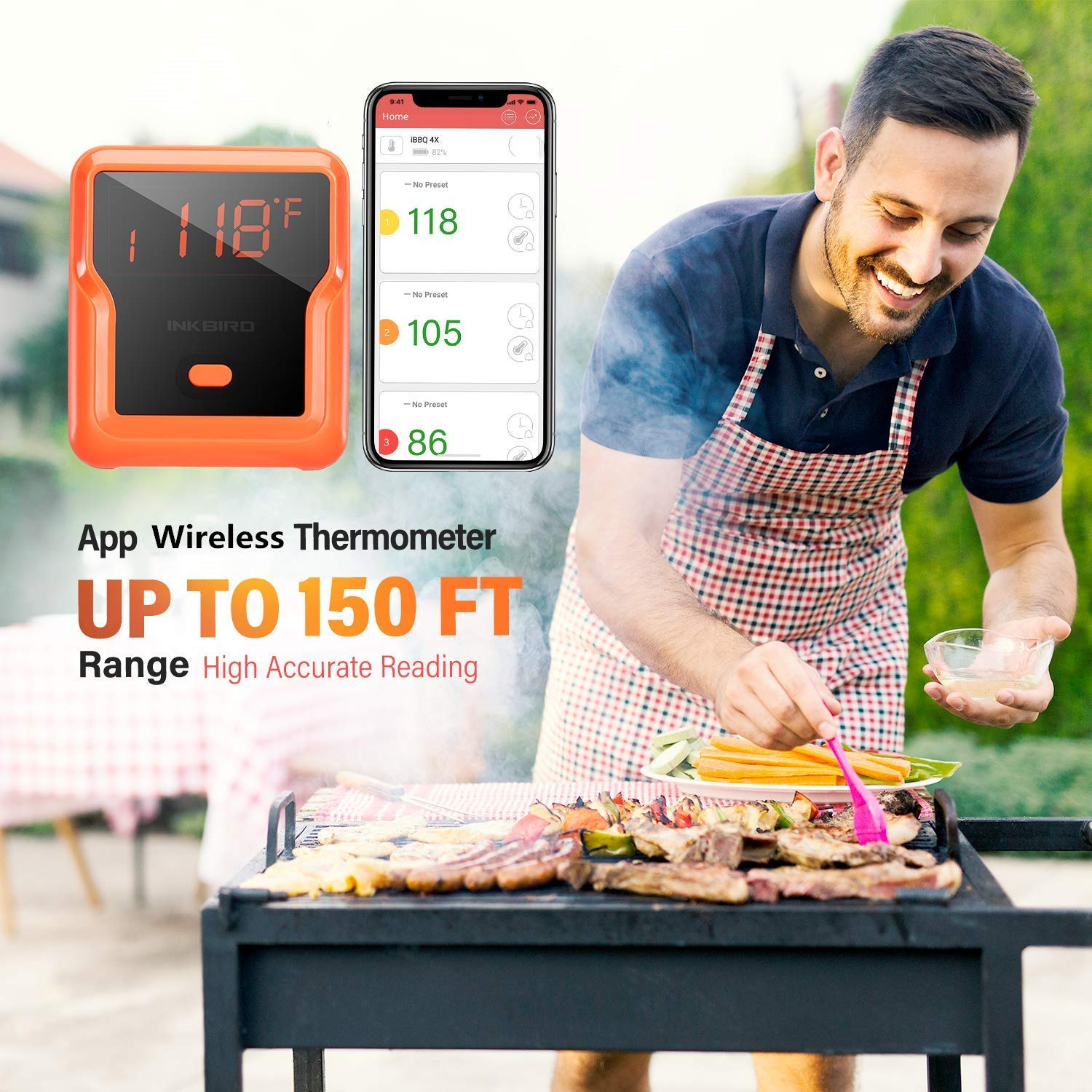 Inkbird 150ft Waterproof BBQ Grill Meat Thermometers IBT-4XP with Timer, Alarm 1000mAh Li-Battery and USB Charging Cable, Wireless Grilling Thermometer for Smoker, Barbecue,Oven, 4 Probes by Inkbird (Image #7)