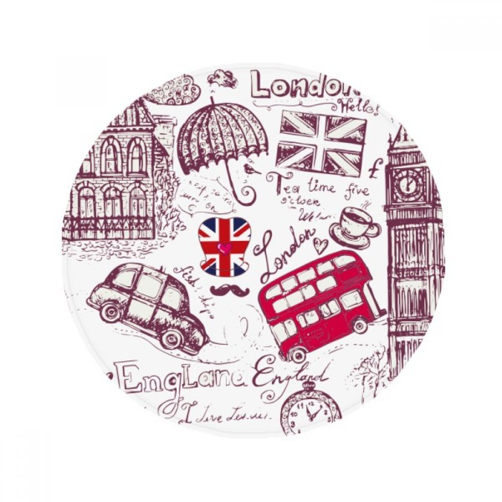 60X60cm DIYthinker Big Ben Bus England Flag Sketch Illustration Anti-Slip Floor Pet Mat Round Bathroom Living Room Kitchen Door 60 50Cm Gift