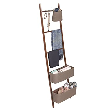 mDesign 5-Tier Bamboo Storage Ladder with Hooks and Bins for Accessories - Brown/Walnut