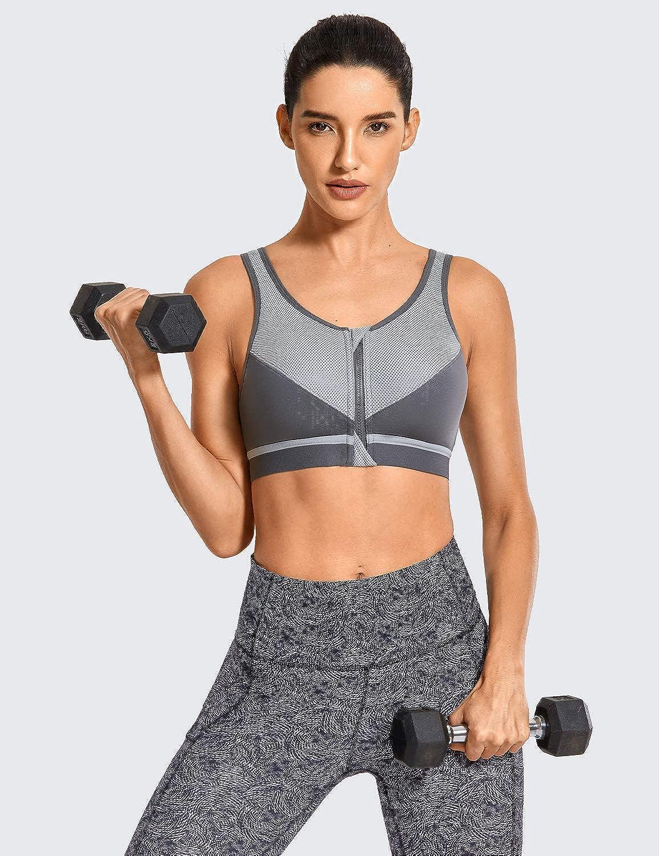 SYROKAN Femme Soutien Gorge Sport Level 3 Zipp/ée Devant X-Shape Back sans Armatures