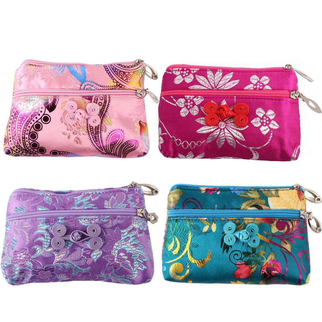 kilofly 4pc Chinese Silk Brocade 2 Zipper Purse Jewelry Pouch Bag Value Set