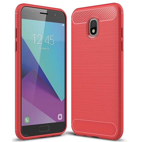 sports shoes bbd75 b83f0 Samsung Galaxy J7 Refine 2018 Case, Halnziye Non-Slip Shockproof Carbon  Fiber Soft Rubber Protective Phone Case Cover for Galaxy J7 Aero/J7 Top/J7  ...