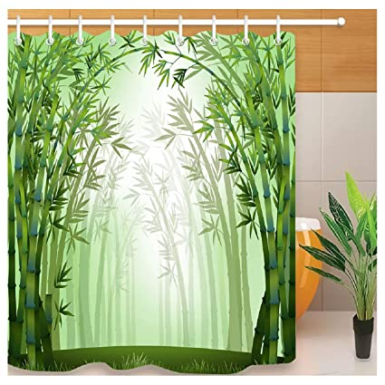 HLILOP Shower Curtain Bamboo Forest Pattern Polyester Fabric 71W X 71L Inches Green White With Hooks