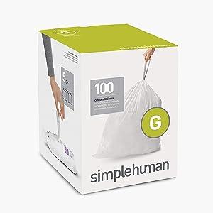 simplehuman Code G Custom Fit Drawstring Trash Bags, 30 Liter / 8 Gallon, 100-Count Box