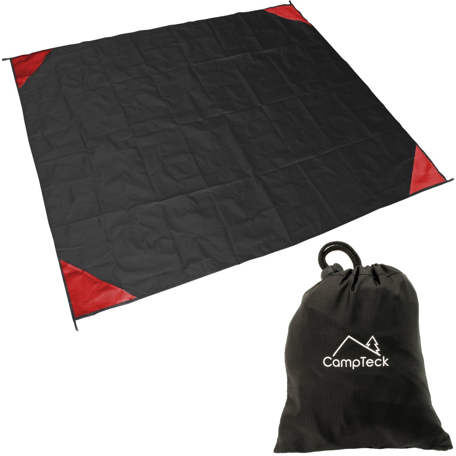 CampTeck U6819 Pocket Picnic Blanket (140 x 170cm) Pocket Groundsheet Water Resistant Polyester Beach Blanket for Outdoor, Hiking, Beach, Camping, Fishing, Travel with Carry Pouch - Black